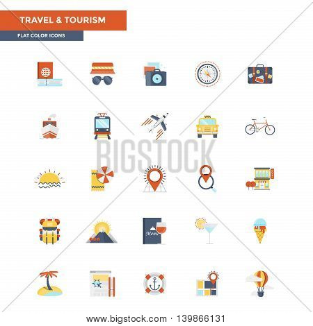 Modern flat design icons for Travel and Tourism. Icons for web and app design easy to use and highly customizable. Vector
