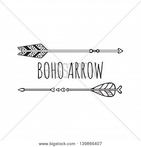 Vector illustration of boho logo. Bohemian logo with arrows. Isolated on white background. Hand drawn.