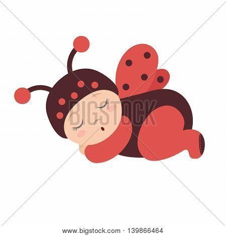 ladybug baby, costume of a ladybug with wings, sleeping baby dressed as a ladybug