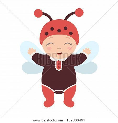 happy cute baby dressed as a ladybug standing and smiling. Flat design.Flat style.