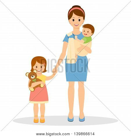 Smiling mother with son and daughter. Mother holding her baby in sling ring.Daughter holding teddy bear. Vector illustration.Cartoon style