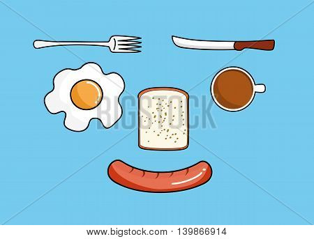 vector illustration of food breakfast meal coffee egg bread and sausage