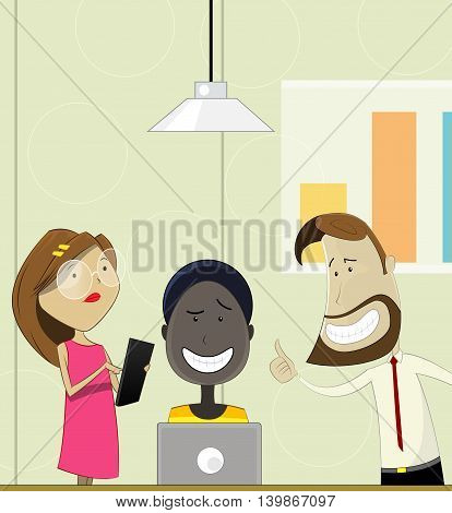 Creative cartoon people working in office. Teamwork, coworking concept illustration. Vector