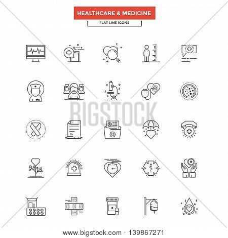 Set of Modern Flat Line icon Concept of Healthcare and Medicine use in Web Project and Applications. Simple mono linear pictogram pack. Vector Illustration