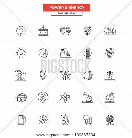 Set of Modern Flat Line icon Concept of Power and Energy use in Web Project and Applications. Simple mono linear pictogram pack. Vector Illustration
