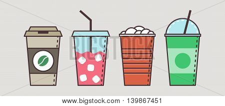 Colorful vector set of flat cups and jars with tasty non alcoholic beverages and cocktails. Icon set illustration.