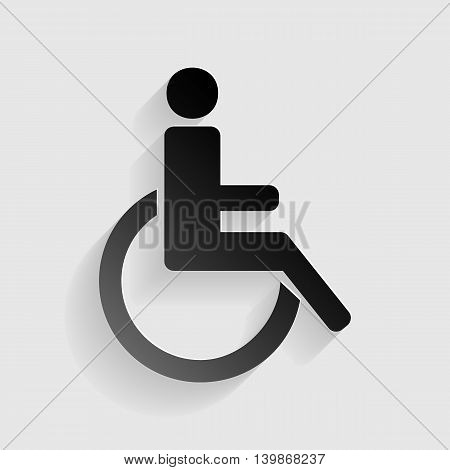 Disabled sign illustration. Black paper with shadow on gray background.