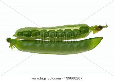 Fresh Green Peas On A White Background