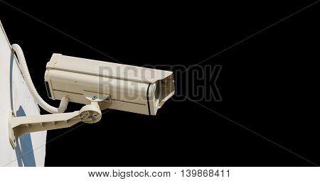 White Surveillance Camera Isolated on  black background.