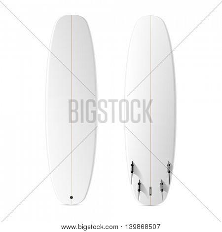 Blank surfboard template. Vector.