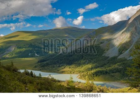 Akkem valley is Akkem lake and Akkem river near Belukha peak. Sections of search and rescue station ashore, Altai. Russia