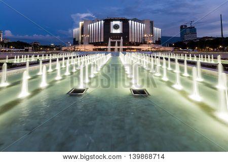SOFIA, BULGARIA - JULY 3, 2016: Amazing Night photo of National Palace of Culture in Sofia, Bulgaria