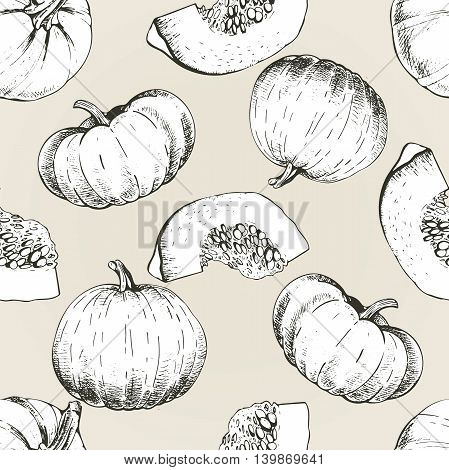 Vector seamless patern of pumpkin. Hand drawn engraved vintage illustration. Good for wrapping papper for Thanxgivig and Halloween celebration. Autumn harvest.