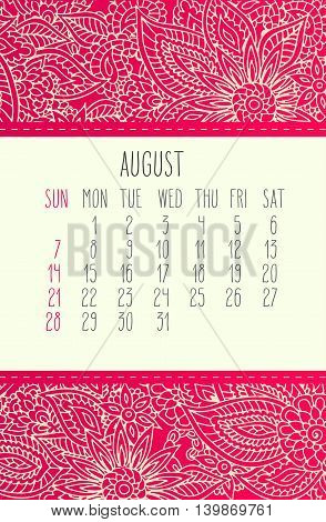 August 2016 Calendar