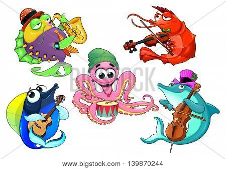 Funny group of musician sea animals. Vector cartoon isolated characters.