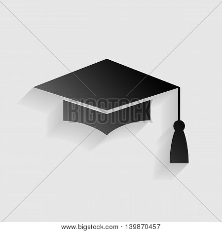 Mortar Board or Graduation Cap, Education symbol. Black paper with shadow on gray background.