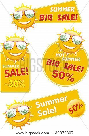 Summer sale! Promotional stickers - vector form.