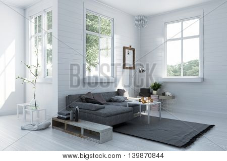 Cozy corner in a stylish white living room with a comfortable upholstered grey couch and rug in a spacious light bright interior with windows, 3d rendering