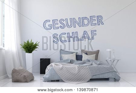 Sweet Dreams or Good Sleep concept with a modern monochromatic white bedroom interior with rumpled divan bed and German text Gesunder Schlaf on the wall, 3d render