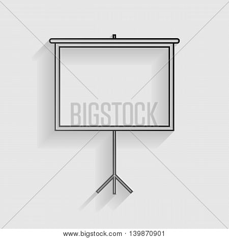 Blank Projection screen. Black paper with shadow on gray background.