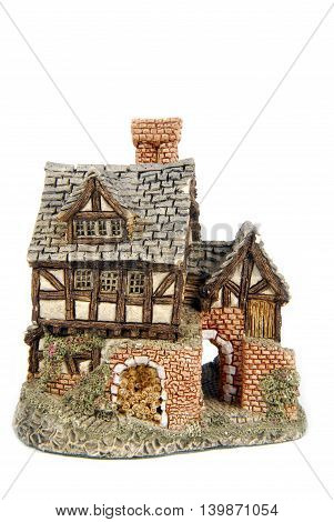 close up of the miniature house isolated on white