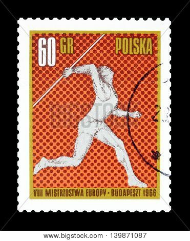 POLAND - CIRCA 1966 : Cancelled postage stamp printed by Poland, that shows Javelin throw.