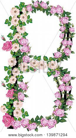 illustration with letter B from rose and brier flowers isolated on white background