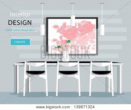 Modern dining room interior design with table, chairs, vase, picture, lamps. Flat style vector illustration