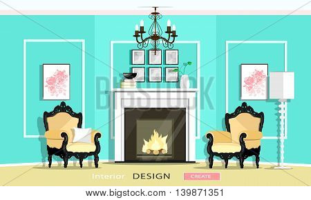 Classic Vintage Style Furniture Set in a living room: fireplace, armchairs, chandelier, lamp. Flat style vector illustration.
