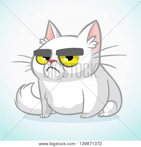 poster of Vector illustration of grumpy white cat. Cute fat cartoon cat with a grumpy expression isolated. Cat icon