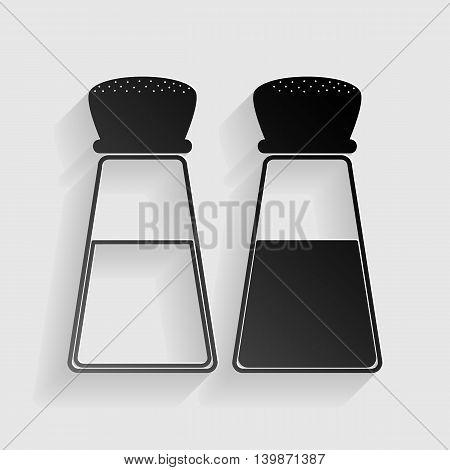 Salt and pepper sign. Black paper with shadow on gray background.