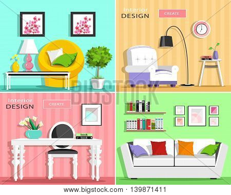 Set of modern living room interior elements: sofa, armchair, chair, table, lamp, shelves, pictures. Flat style vector illustration.