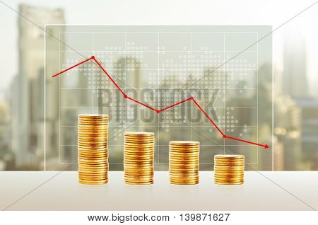 Money loss Business concept. Gold coin stacks. Finance down with world map and cityscape background.