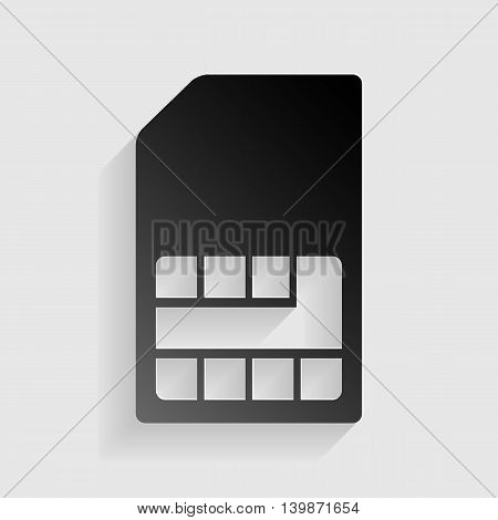 Sim card sign. Black paper with shadow on gray background.