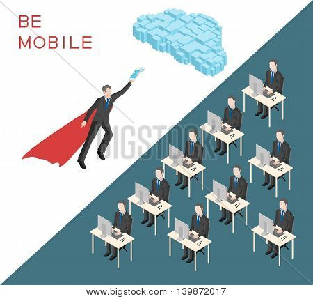 Mobility concept in an isometric view. Office staff with a red cape superhero flies toward cloud.