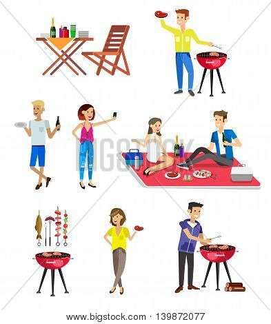 Vector character set, people on Family picnic or Bbq party. Food and barbeque, summer and grill
