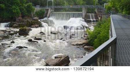 hydroelectric dam on river waterfalls, power plant