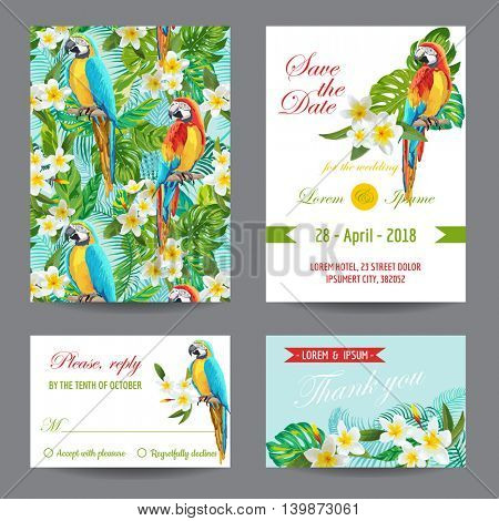 Invitation or Greeting Card Set - Tropical Birds and Flowers Design - in vector