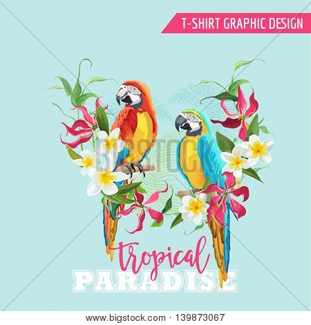 Tropical Graphic Design. Parrot Bird and Tropical Flowers. T-shirt Fashion Print. Vector Background.