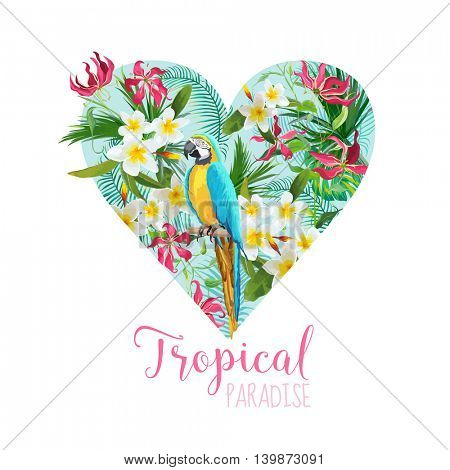 Floral Heart Graphic Design - Tropical Flowers and Parrot Bird - for t-shirt, fashion, prints - in vector