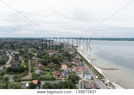 bird view in laboe west towards Kiel over the baltic sea