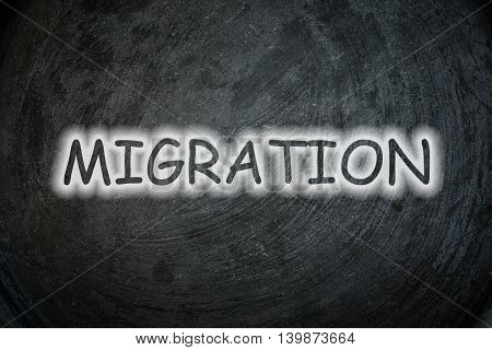 Migration text on background text on background  idea