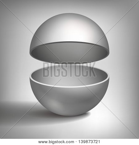 Vector volume hollow sphere, open ball, inside a grey coated, abstract object for you project design