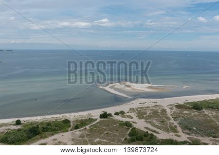 bird view in laboe east over the baltic sea