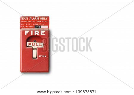 fire alarm switch isolated on white background