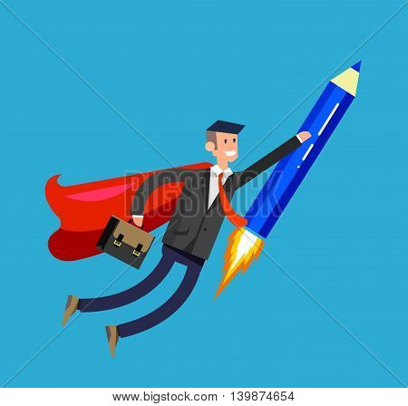 Vector detailed character businessman with startup. Flat style website concept, web infographics. Rocket pencil fly with business hero