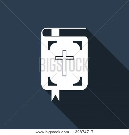 Bible icon with long shadow. Adobe illustrator