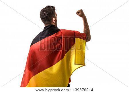 Athlete celebrating and holding the flag of Germany