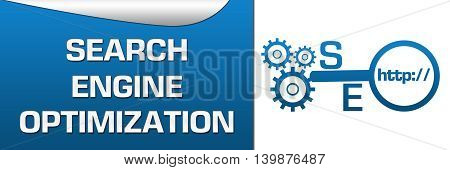 SEO concept image with text and related conceptual symbols.
