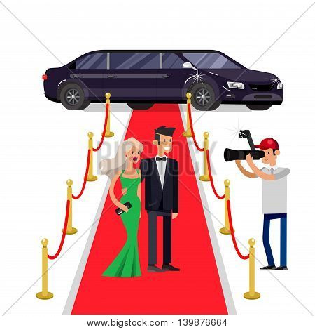 Vector detailed character rich and beautiful celebrities, man in tails and blond woman in evening dress, celebrities walking on a red carpet, with limousine